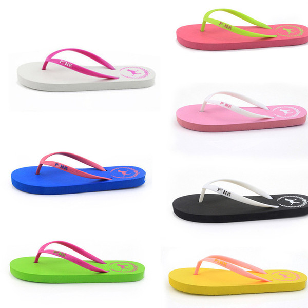 Summer Love Pink dog Flip Flops Beach Pools Slippers Shoes For Women Casual PVC Home Bath Sandals Casual Slippers AA1960