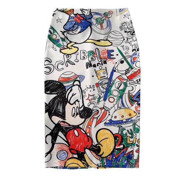 Falda Lápiz Ocasional de las mujeres 2019 Moda Nuevo Ratón de Dibujos Animados Imprimir Cintura Alta Faldas Delgadas Chica Joven Verano Japón Faldas de Dibujos Animados Lindos Femeninos