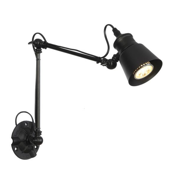 Modern Katlanabilir duvar ışıkları uzun salıncak kol Ayarlanabilir Alüminyum aplikleri lambaları siyah sanat duvar ışıkları yatak odası değnek için lampen