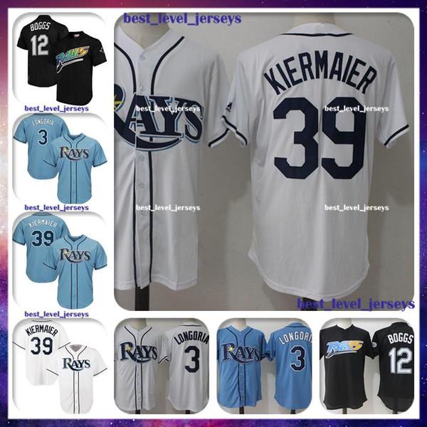 abe33fe2b 3 Evan Longoria Jersey 39 Kevin Kiermaier Jersey 12 Wade Boggs Tampa Bay  jerseys Rays Majestic