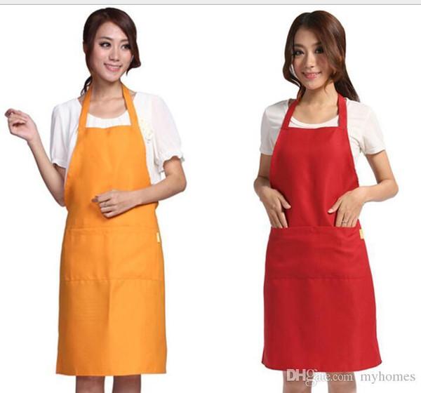 Grembiule moda multi colore tinta unita grande tasca famiglia cuoco cottura casa cottura strumenti di pulizia bavaglino arte grembiule hanno azione