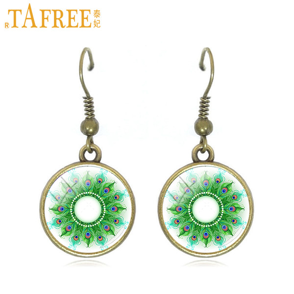 TAFREE green peacock hair style dangle earrings mandala women drop earring Sri Yantra jewelry Henna Zen H394