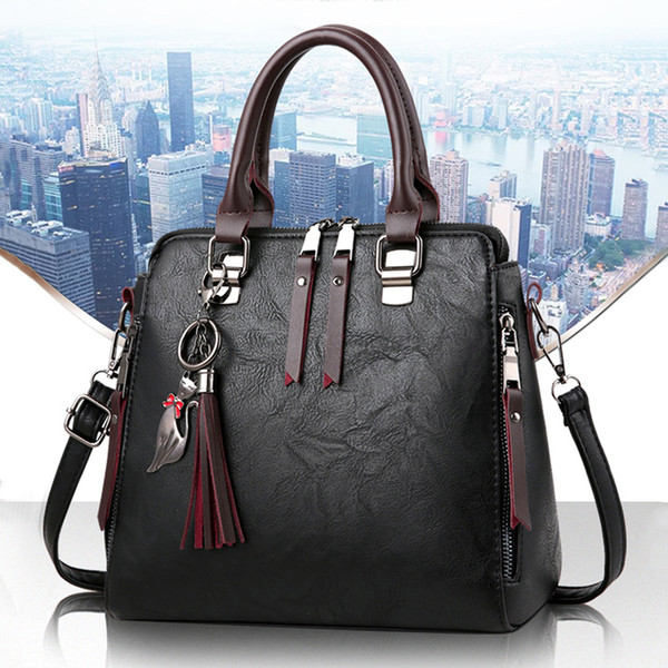 fggs women's fashion handbag beautiful lady crossbody bag elegant pu leather one shoulder handbags shopping bag black
