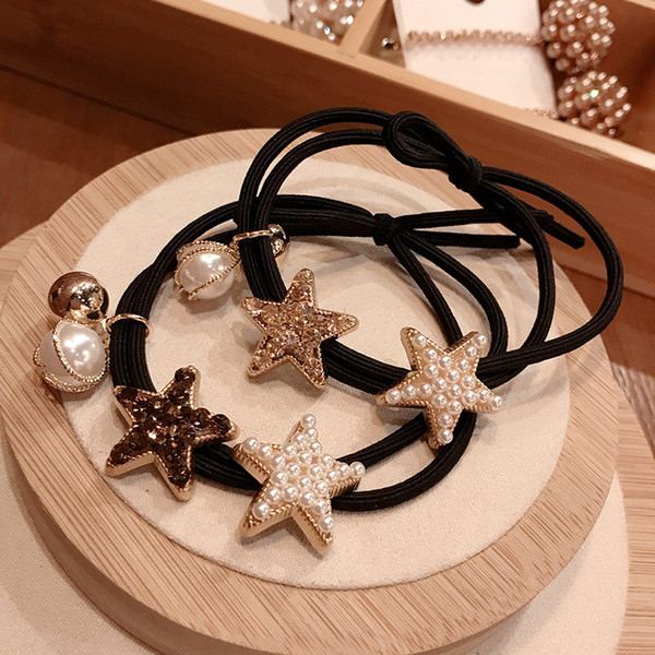 Star Pearl Women Hair Ring Rubber Bands Individual Fashion Hair Jewelry Wholesale Customization