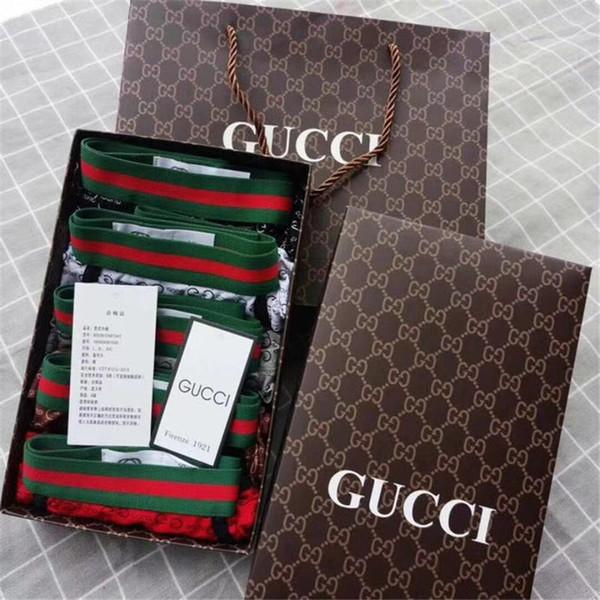 G Monogram Classic Design Slipants Men '; S 5 Pieces Box Boxed Briefs Boxers Lettre vert coton rouge haut