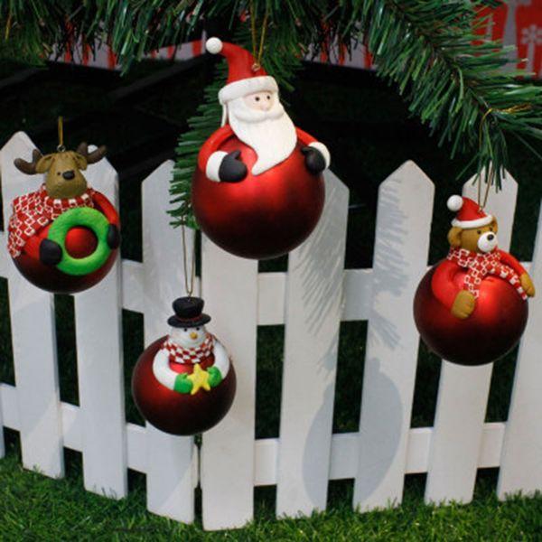 christmas pendant & drop ornaments soft ceramic ball cartoon santa claus snowman elk bear christmas tree hanging decoration