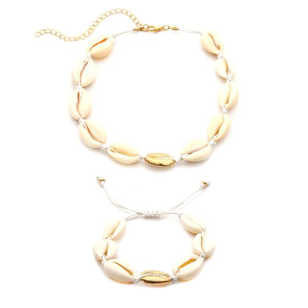 Fashion BOHO Women Sea Shell Necklace Bracelet Summer Beads Beach Pendant Adjustable Bangle Chain Ankle Foot Wristband Jewelry Set Gift