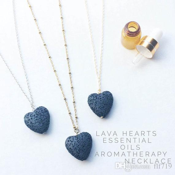 Heart Lava-rock Bead Pendant Long Volcano Statement Necklaces Aromatherapy Essential Oil Diffuser Necklaces Choker Women Men Jewelry