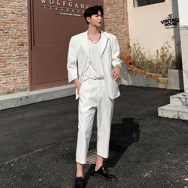 Men Suits Sets 2PCS (jacket+pant) Male Streetwear Vintage Fashion Slim Fit Business Casual Suit Blazer Jacket Pants