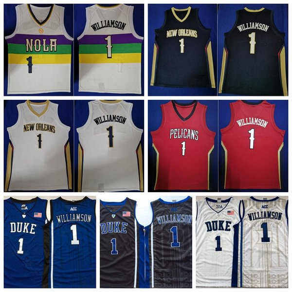 premium selection 51ff1 0d99f 2019 New Orleans Basketball Pelicans Zion Williamson Jersey Duke Blue  Devils Anthony Davis Basketball City Earned Edition Red Blue Purple White  From ...