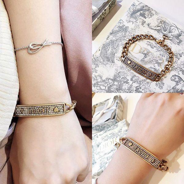 2019 marque bracelet édition de la maison de nouvelles lettres haut plein de bracelets de diamants vibrato bracelet net de style chaud rouge ady36a