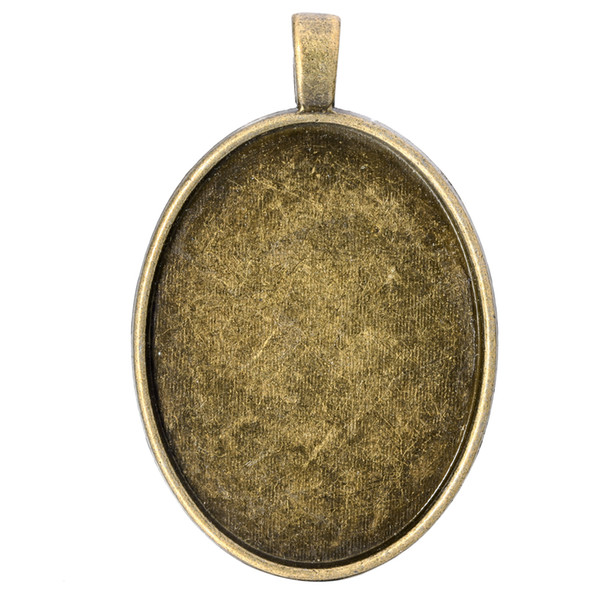 10pcs/lot 30*40mm Antique Bronze Silver Color Blank Pendant Trays Blank Pendant Cabochon Base Settings for DIY Jewelry Making