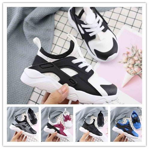 (box) kids Huarache 1.0 4.0 Running Shoes Boys and girls Top Quality Stripe Balck White Oreo Sport Shoes Designer Sneakers Trainers 22-35
