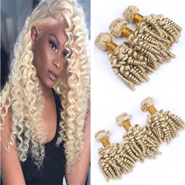 Bleach Blonde Bouncy Curly Hair Weave Bundles Aunty Funmi Curly 613 Human Hair Extensions Platinum Blonde Spiral Curls Hair Weaves