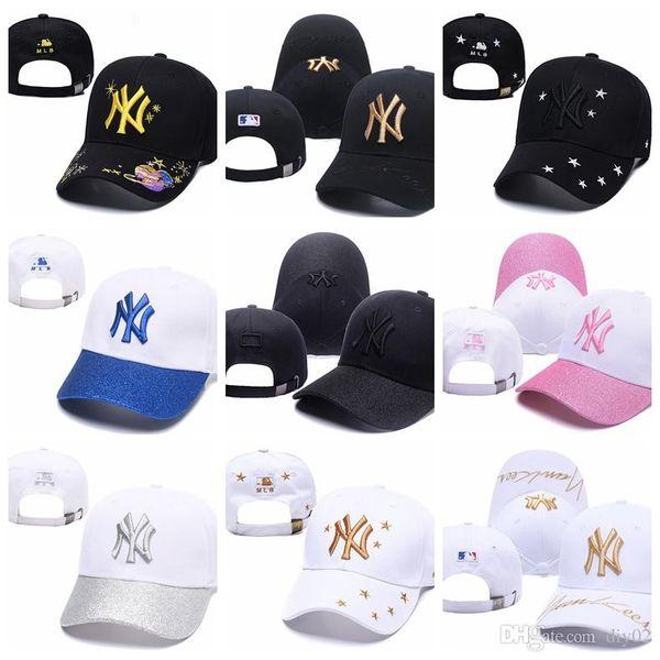 Explosif argent style d'étéMLB NY lettre casquettes de baseball Chapeu hommes d'os et de sport femmes hiphop FERMÉE Aménagée Chapeaux
