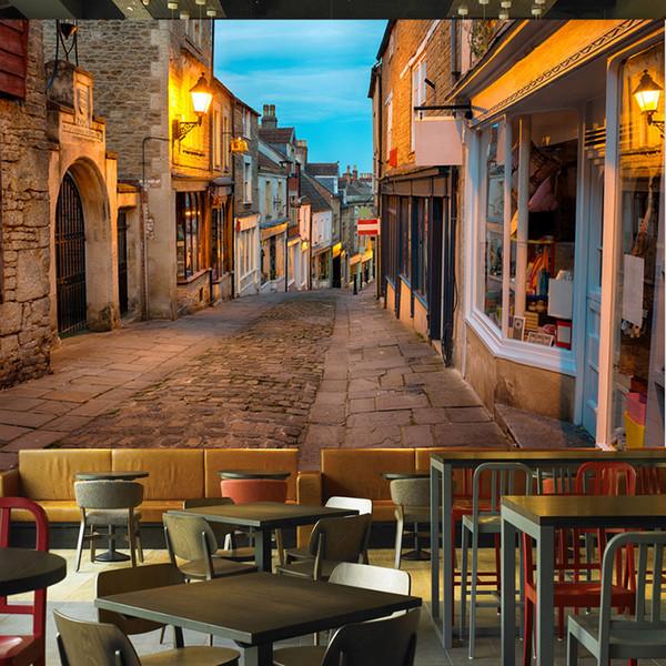 Benutzerdefinierte Wandbild Tapete Europäischen Italien Straße Stadt Landschaftsmalerei Foto Wandmalereien Restaurant Cafe Innendekor Tapeten