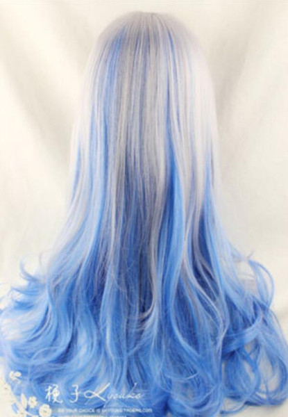 LL FINE0426 BON Anime Highlight Mixte Couleur ondulée Cheveux Fille ondulée Lolita Cosplay Party Perruques Argent Bleu