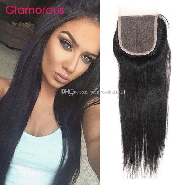 Glamoroso malasio peruano indio brasileño brasileño cierre de pelo recto 1 unids Remy de encaje de pelo virginal Original piezas de cabello humano para mujeres