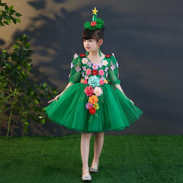 Свободный корабль дети девочки зеленые фея цветы пачка рукавом платье принцессы с украшениями для волос сценический костюм ренессанс платье