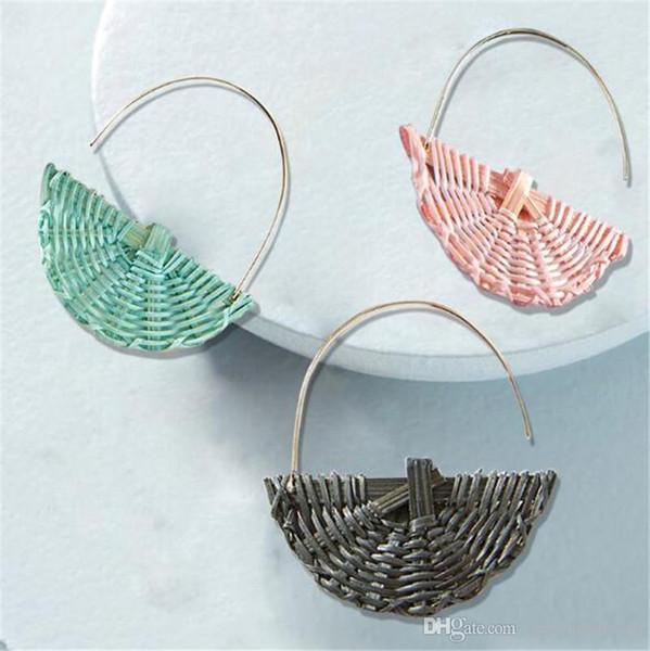 Бесплатная доставка Высокое качество европейской и американской моды ручной ротанг творческого уха кольцо способа универсальный ротанг серьги