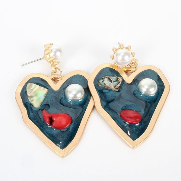 new korean heart statement enamel drop earrings for women fashion vintage natural stone pearl dangle hanging earring jewelry