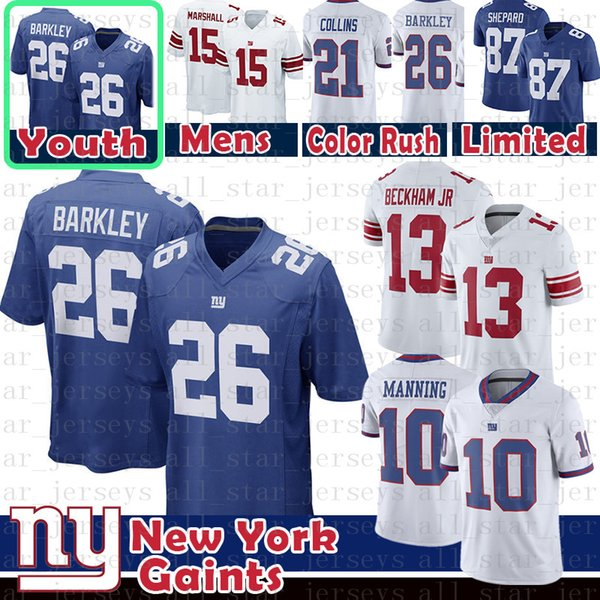 buy popular 10b16 7e2c1 2019 New York 26 Saquon Barkley Gaints Jersery Mens Youth Kid'S 10 Eli  Manning 21 Landon Collins 13 Odell Beckham Jr 87 Shepard 15 Marshall From  ...