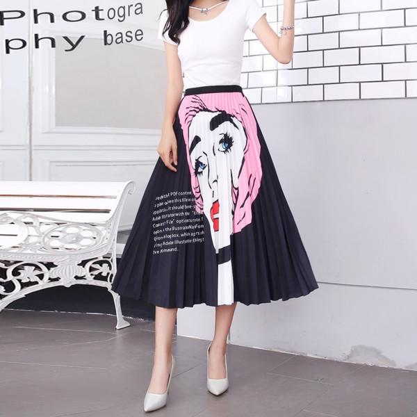 2019 Women Midi Skirt High Waist Pleated Skirts Plus Size Summer Skirt  Ladies Maxi Skirts Elastic Waist 2019 From Tomwei, $11.06 | DHgate.Com