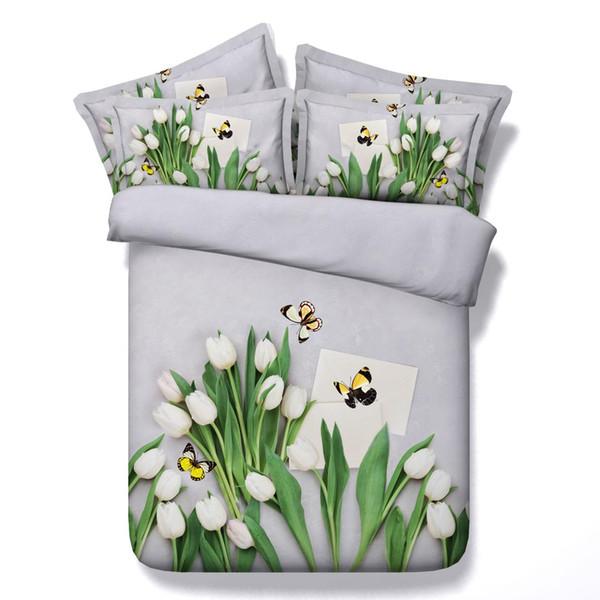 Envío gratis 100% algodón funda nórdica 3d floral con juego de cama de tulipán mariposa doble / completo / reina / king size sin relleno blanco