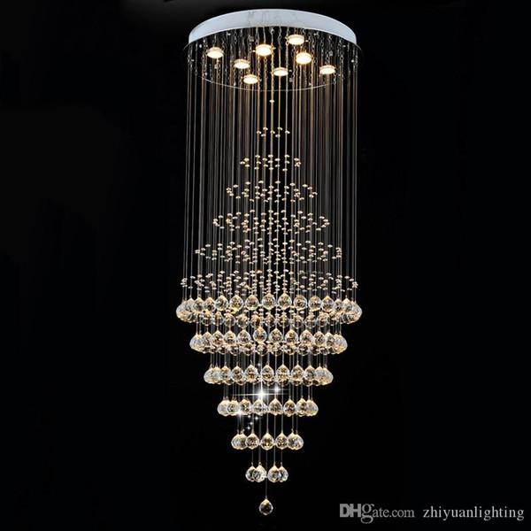 Lámpara de araña LED redonda Luz clara K9 Iluminación de cristal Lámparas colgantes de gota de lluvia Accesorios D60CM H180CM 8 GU10 luces de techo empotradas