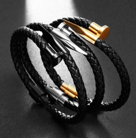 Sporty Design Boys Genuine Leather Bracelet Bangles Male Jewelry Trendy Braided Brand Nail Charm Men Bangles