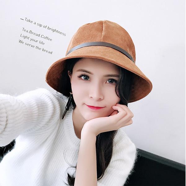 2019 Nuovo cappello da cintura casual da uomo e da donna cappello da pescatore in velluto a coste autunnale e invernale grande lungo cappello da uomo pieghevole