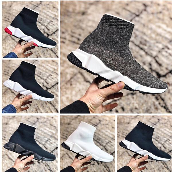 Paris Üçlü S rahat ayakkabılar erkek moda marka tasarımcısı çorap bayanlar hız eğitmeni kırmızı üç katmanlı siyah çorap sneakers ceevlt