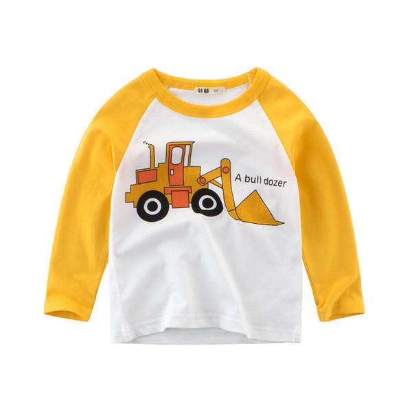 Venta al por mayor de ropa para bebés, otoño, niñas, camisetas de manga larga, bebés, bebés, unicornios, autos, camisetas de algodón, ropa para niños