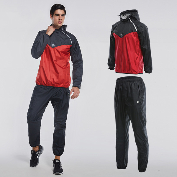 2019 new sweat suit mens sports running suits fitness lose weight 2pcs yoga clothes gym sportswear fitness track training suits - from $47.59