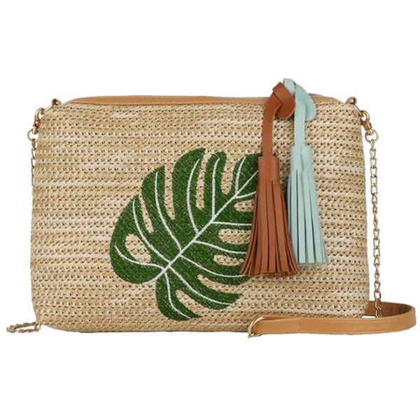 Women Straw Shoulder Bags Embroidery Zipper Handbags Summer Beach Bohemian Crossbody Bags