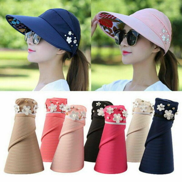 top popular Sun Visor Ponytail Hat women Wide Brim floral Protection Cap foldable sunhat Summer floppy Beach Packable Outdoor hats CNY1252 2020