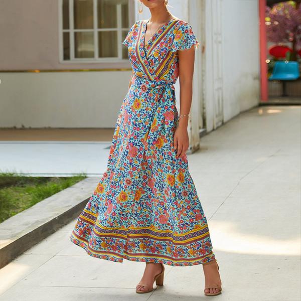 New Summer Dress Indie Folk 2019 Women Sexy Printed Bow Holiday Beach Dress V-Neck Short Sleeve Female Dress Elegant Party M0511 T190601