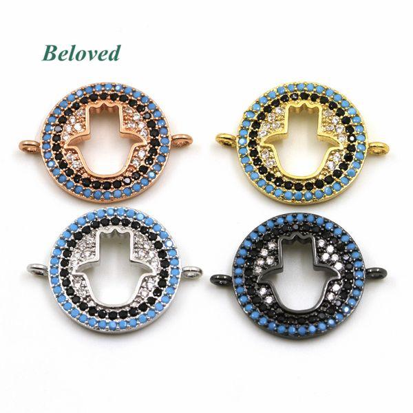 Micro Pave CZ Zirconia Turquoises Hollow Hamsa Hand Bracelet Connector , Multicolor Metal Jewelry Making Findings, BG18162