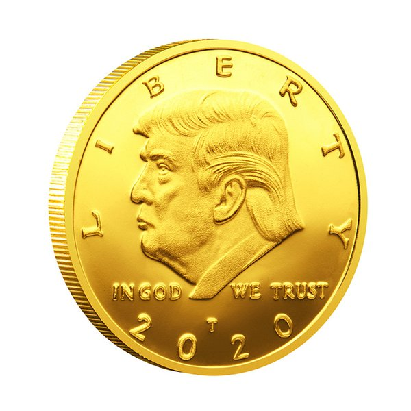 top popular 2020 Donald Trump Coins Commemorative Coin American 45th President Souvenir Gold Silver Metal Badge Collection Non-currency 2020