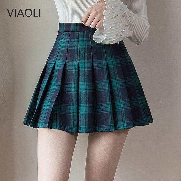 Plus La Taille Harajuku Jupe Courte Nouvelle Jupe À Carreaux Coréenne Femmes Zipper Taille Haute School Girl Plissée À Carreaux Sexy Mini