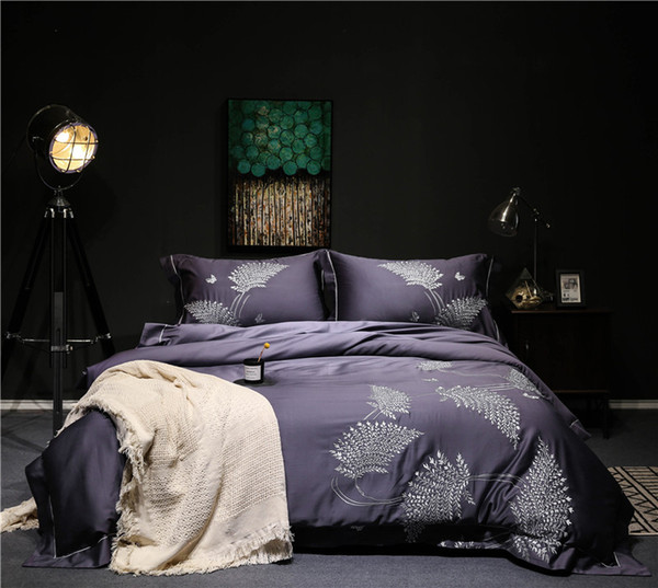 Purple Grey Egyptian cotton Queen King size Bedding Set Luxury Embroidery Bed set Duvet cover Bed sheet set Bedlinen Pillowcase