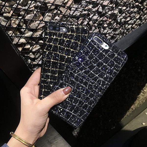Мода Блеск Блестящий Порошок Чехол Для iPhone X X Макс Макс XR Роскошные Квадратные Решетки Мягкая Задняя Крышка ТПУ Для iphone 6 6 S 7 8 плюс Coque чехлы