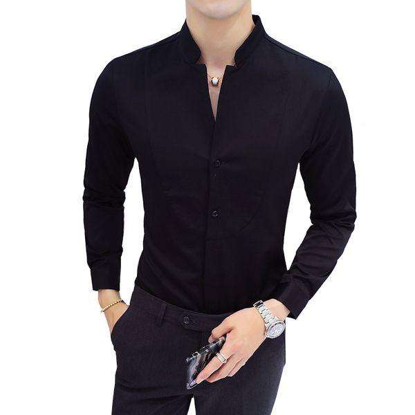 İnce Tasarım Erkekler Gömlek Uzun Kollu Siyah Kırmızı Beyaz Gömlek Erkekler Asya Boyutu S-5XL Standı Yaka erkek gömlek