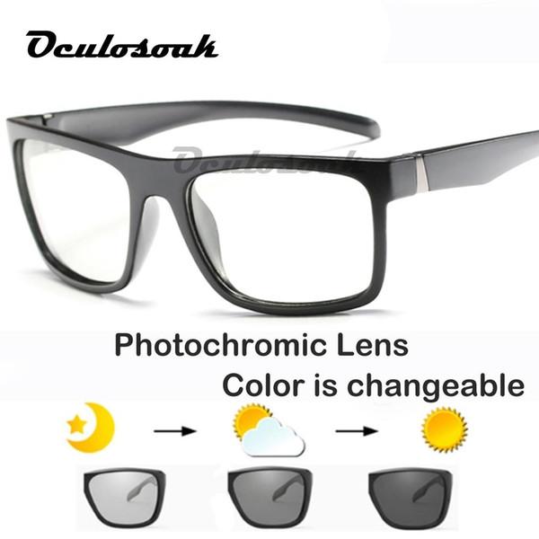 Yeni Polarize Fotokromik Güneş Erkekler parlama Önleyici Marka Uv400 Dikdörtgen Bukalemun Güneş Gözlüğü Sürüş Balıkçılık Kare Güneş Gözlüğü