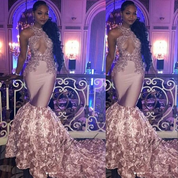 Pink Prom Dresses 2019 Sleeveless Lace Appliques See Through 3D Flowers Black Girl Mermaid Prom Gown Plus Size