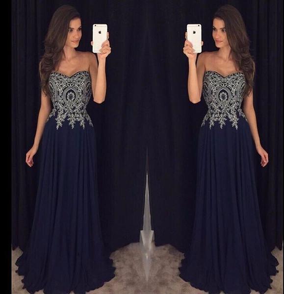 Темно-синие платья выпускного вечера длинные дешевые 2019 без бретелек Милая декольте бисером кружева аппликация шифон вечерние платья