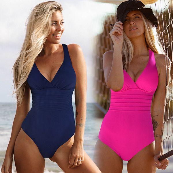 Vintage One Piece Swimsuit Women Swimwear Solid Monokini Retro Bodysuit Beach Wear Black Blue Bath Suit Striped Maillot De Bain Y19051801