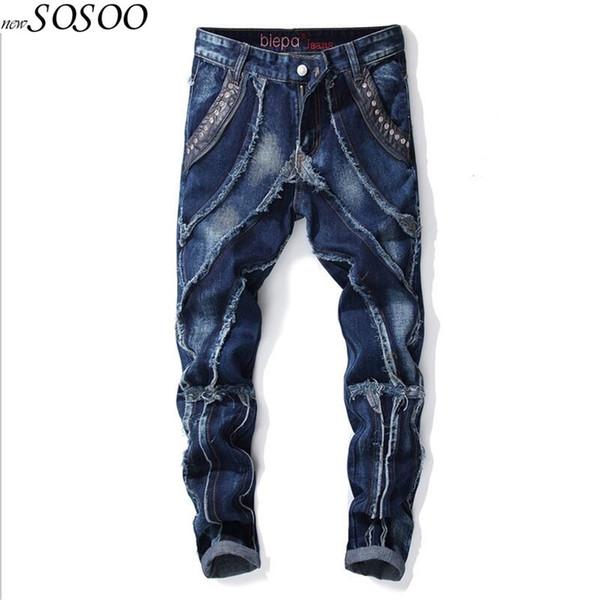 JiSuTong marka Mağaza yeni stil erkekler kot% 100% Pamuklu denim yüksek kalite patchwork eklenmiş moda adamın kot # 594