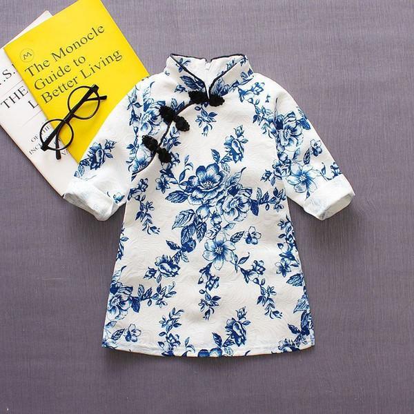 bonne qualité nouveau printemps bébé filles robe chinois cheongsam fête d'anniversaire vêtements vêtements classiques robe pour bébés filles Qipao