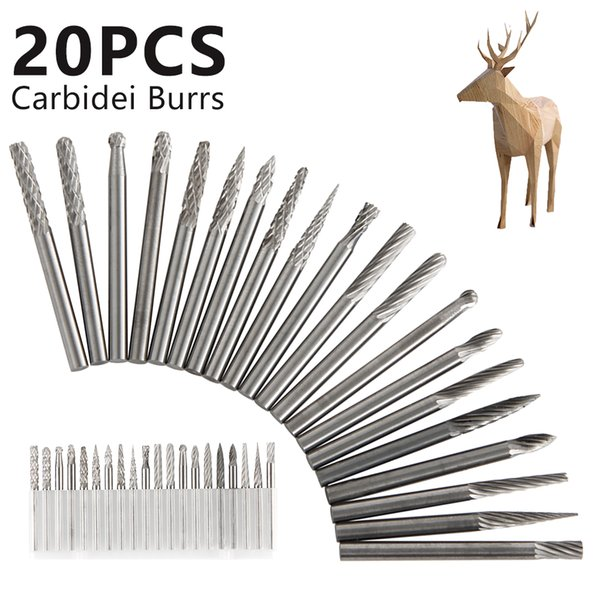 20 Pieces Tungsten Carbide Rotary Burrs Set for Dremel Accessories Milling Cutter Drill Bit Engraving Bits